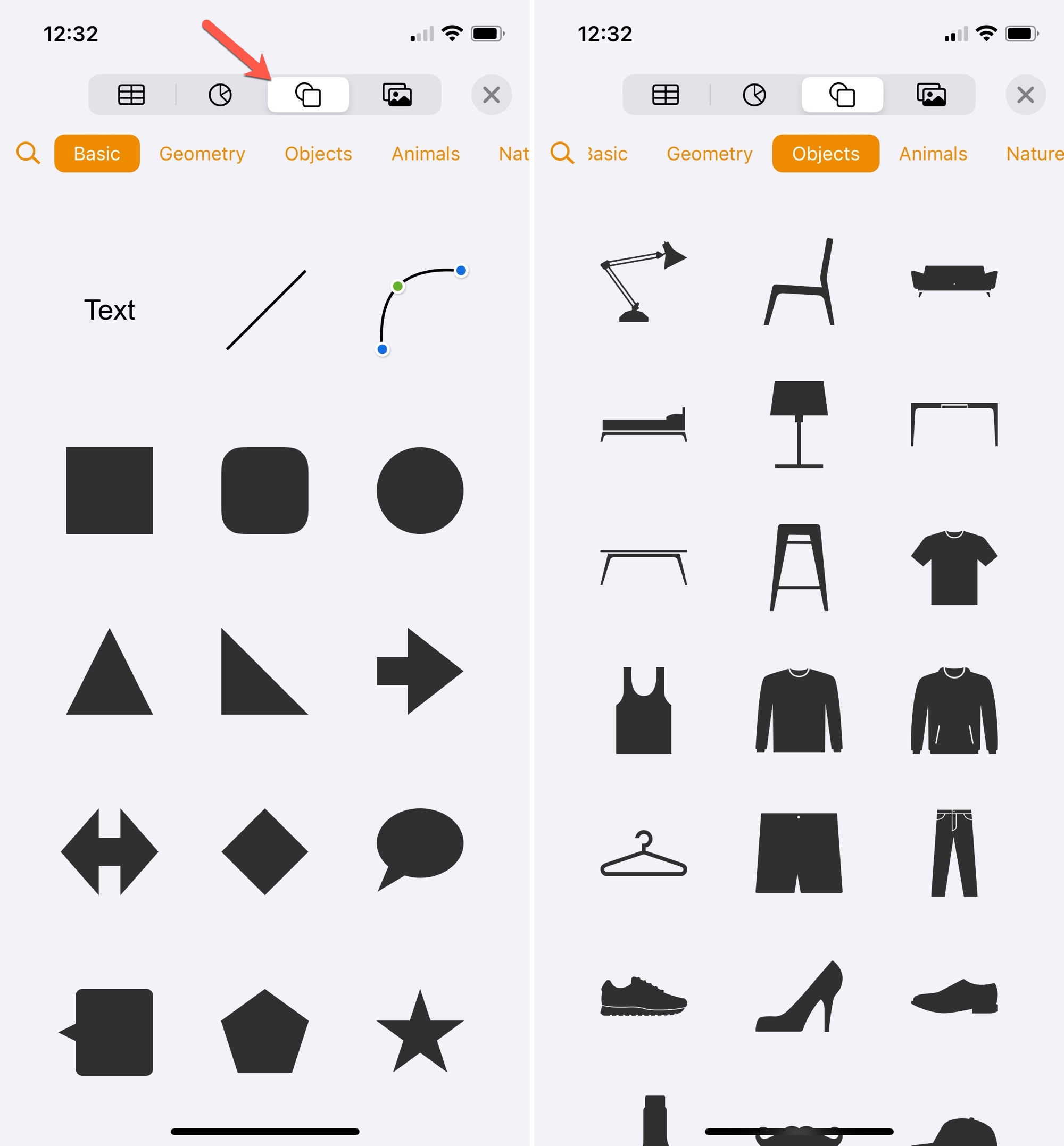 Add a Shape in Pages on iPhone