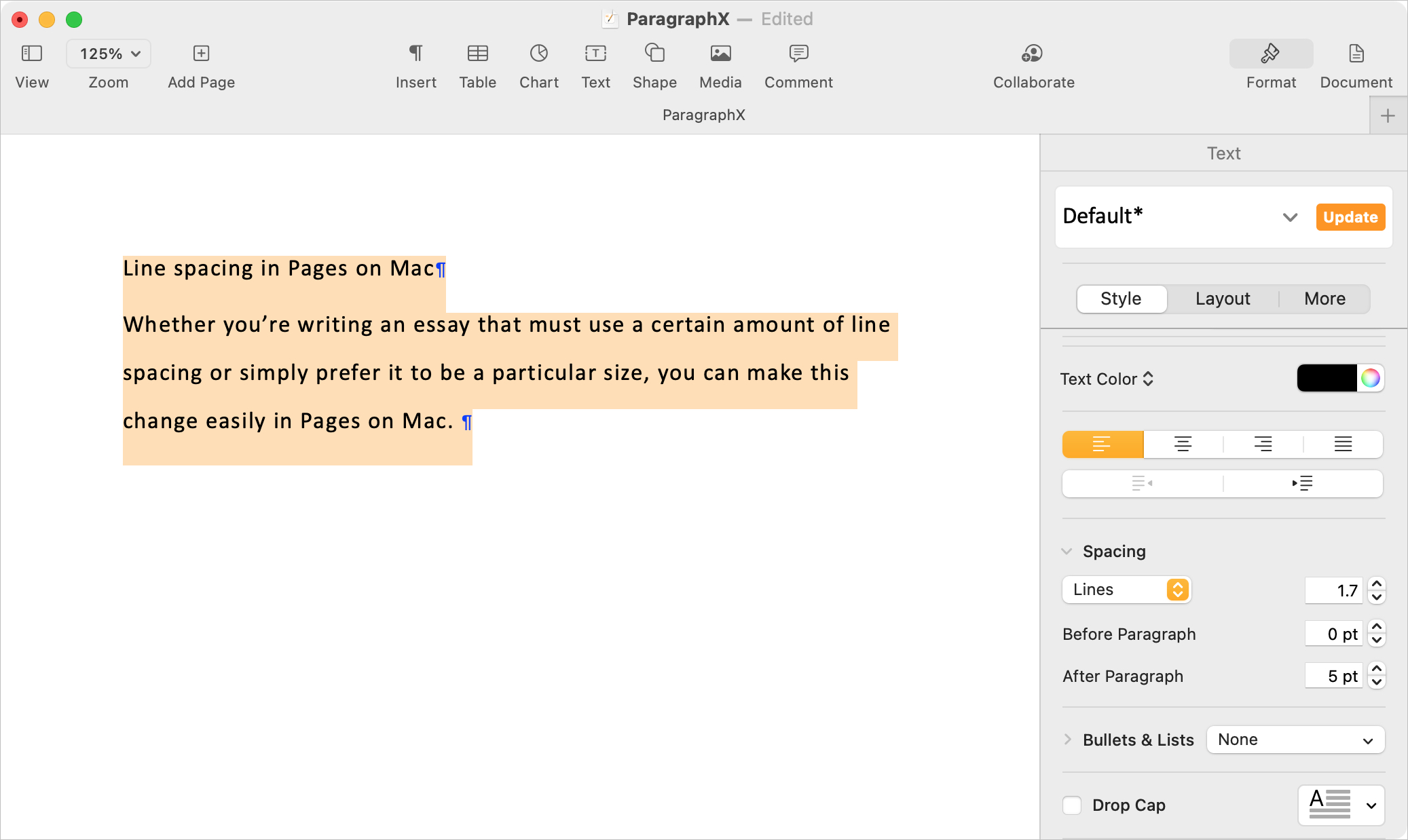 Adjusted Line Spacing in Pages on Mac