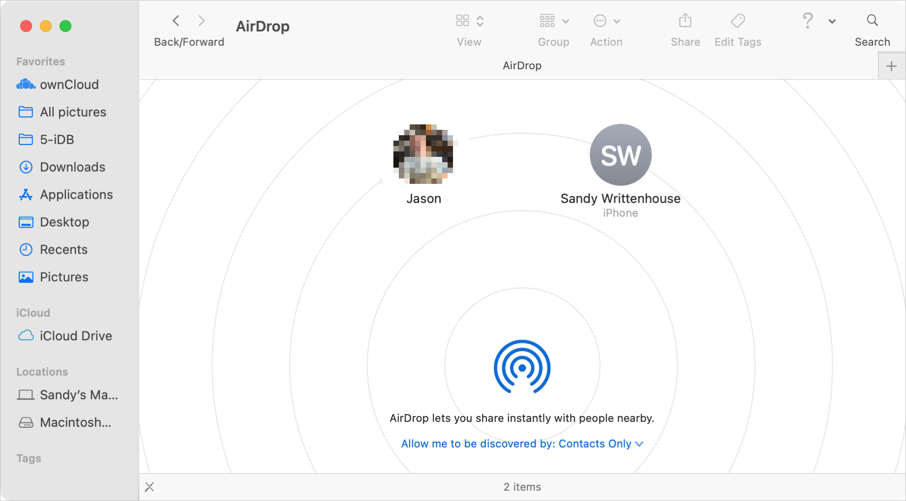 AirDrop Window on Mac to Share Files