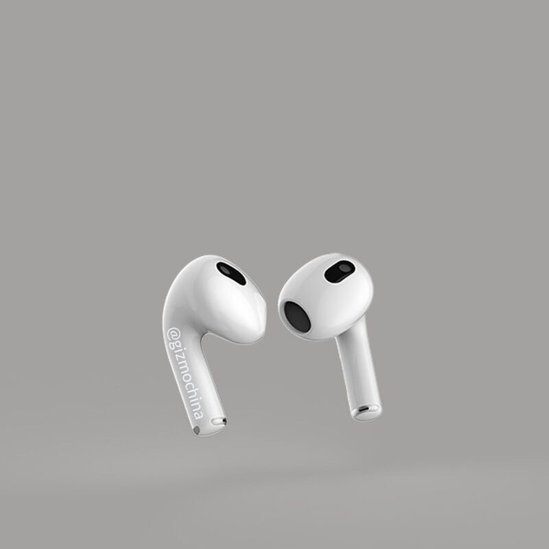 A CAD render of AirPods 3 showing a shorter stem with AirPods Pro-like design and replaceable silicon ear tips