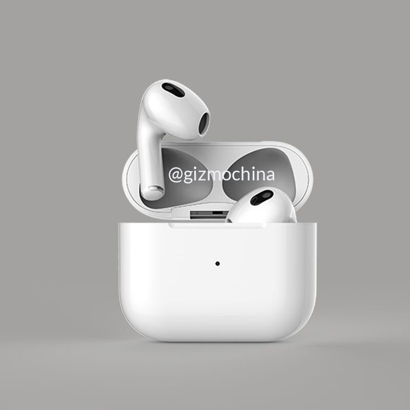 A CAD render of the smaller AirPods 3 charge case
