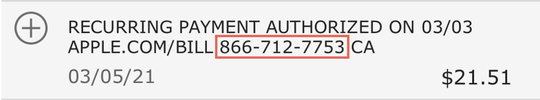 Apple Bill Bank Statement Phone Number