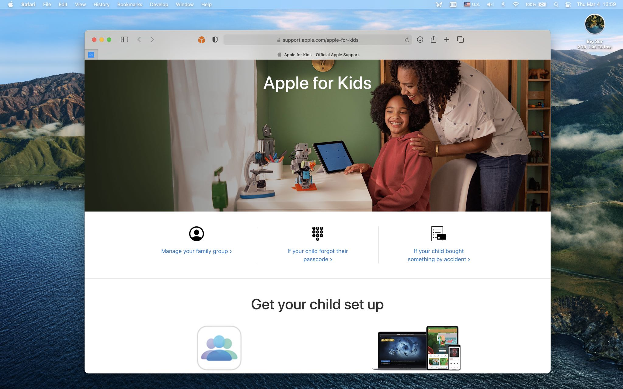"""A screenshot showing the """"Apple for Kids"""" portal on the Apple Support website."""