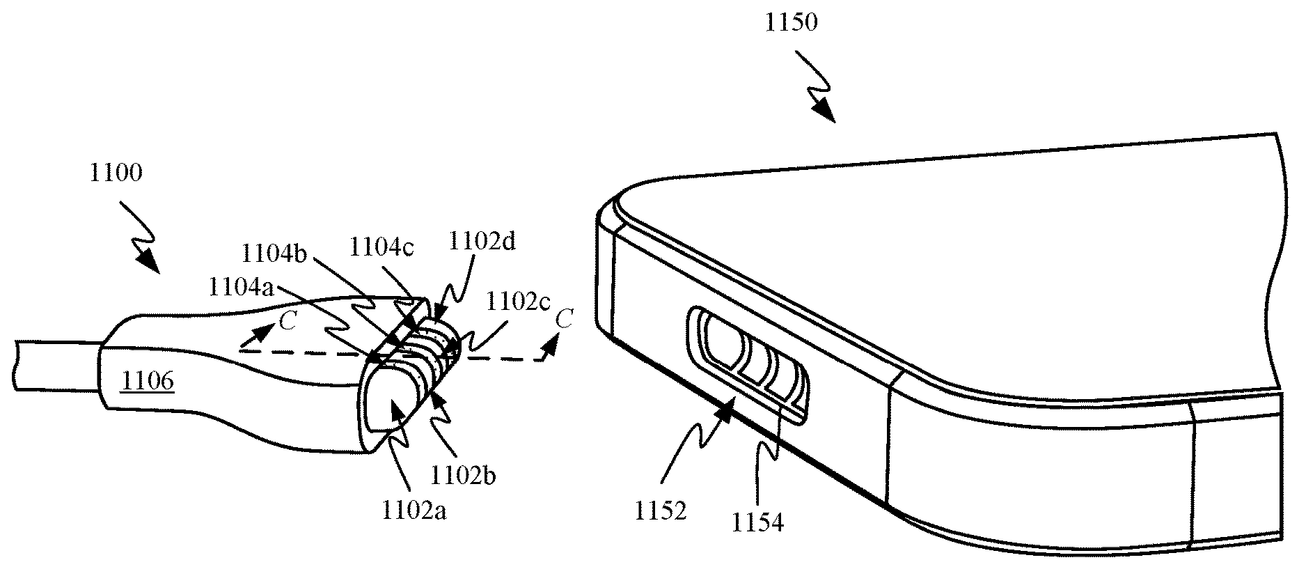 A drawing from Apple's MagSafe patent showing a magnetic iPhone port in place of Lightning