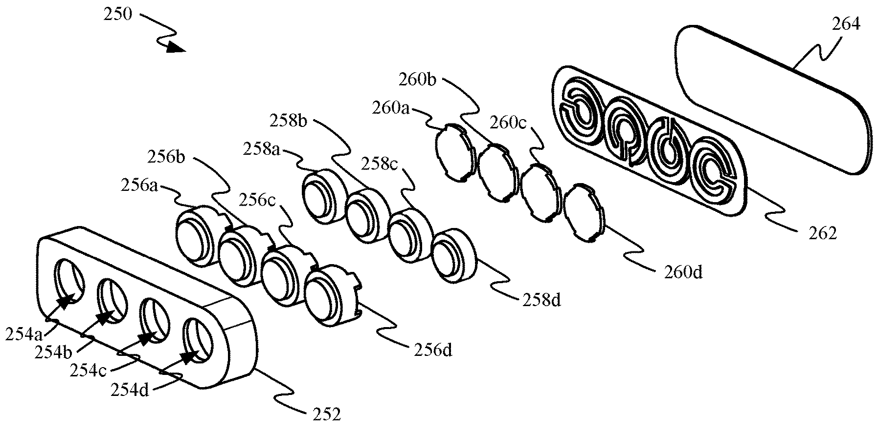A drawing from Apple's MagSafe patent showing pogo-style connections for power and data
