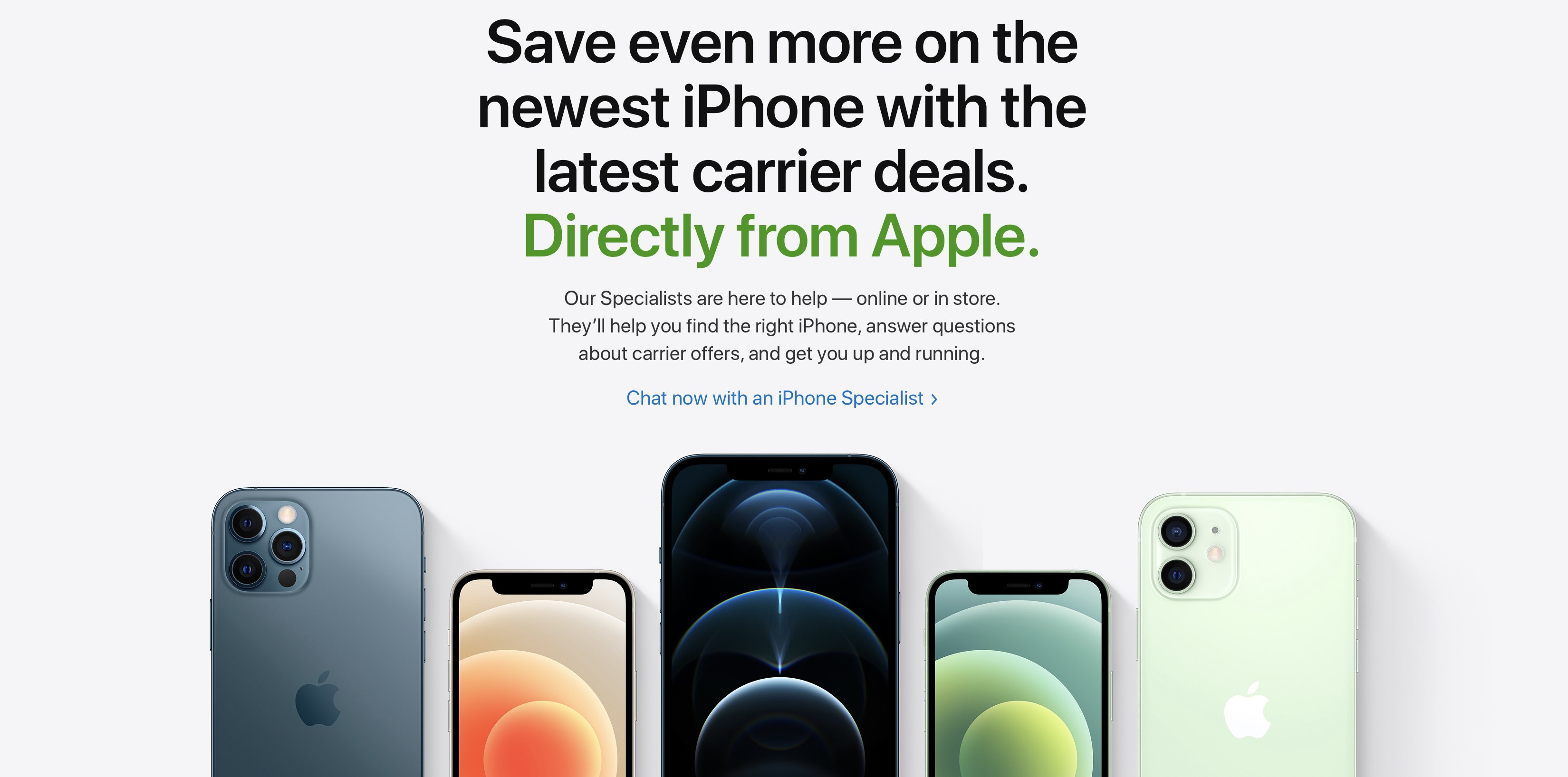 A screenshot of the Apple website showing the section dedicated to iPhone trade-in deals and offers from US carriers