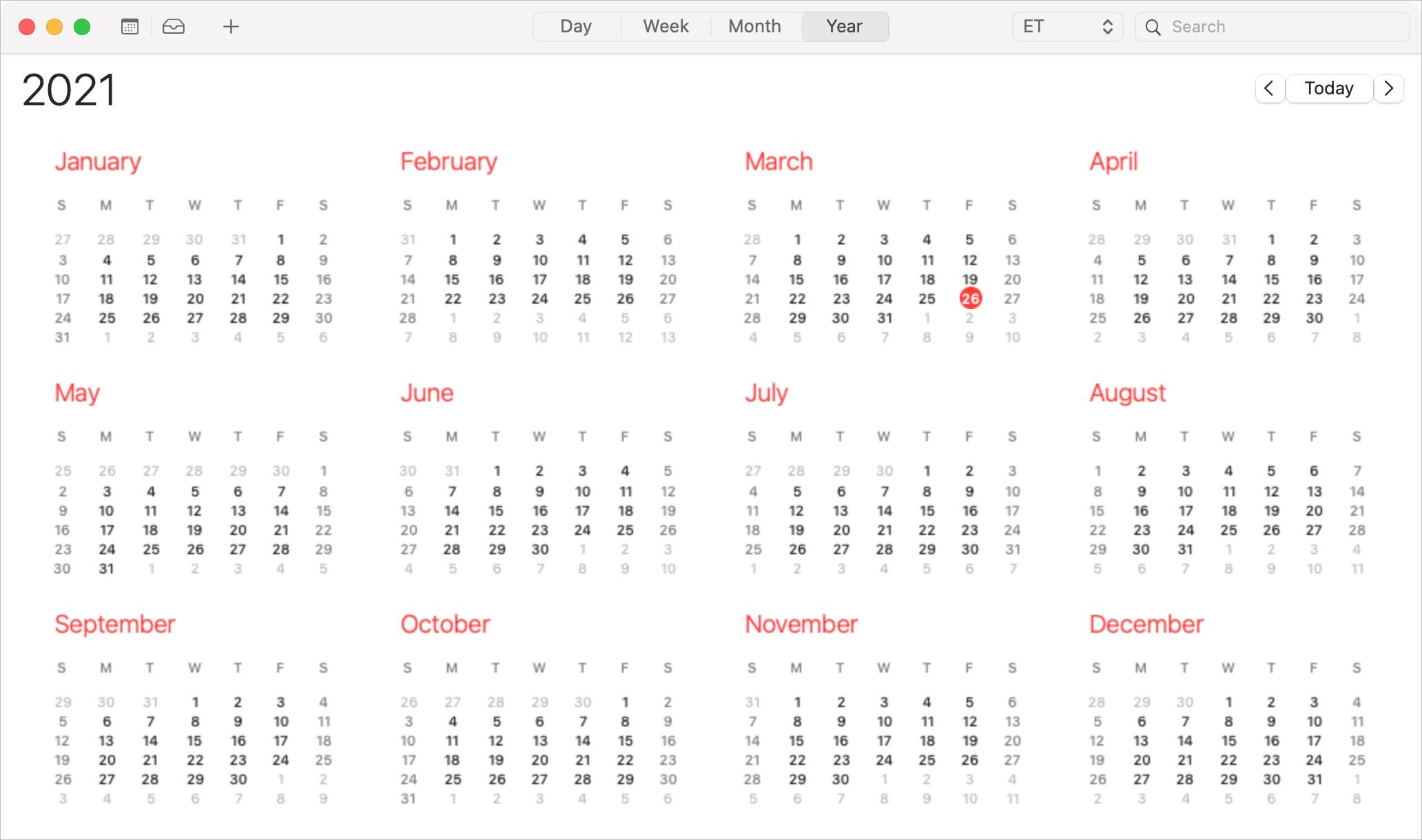 Calendar Year View on Mac