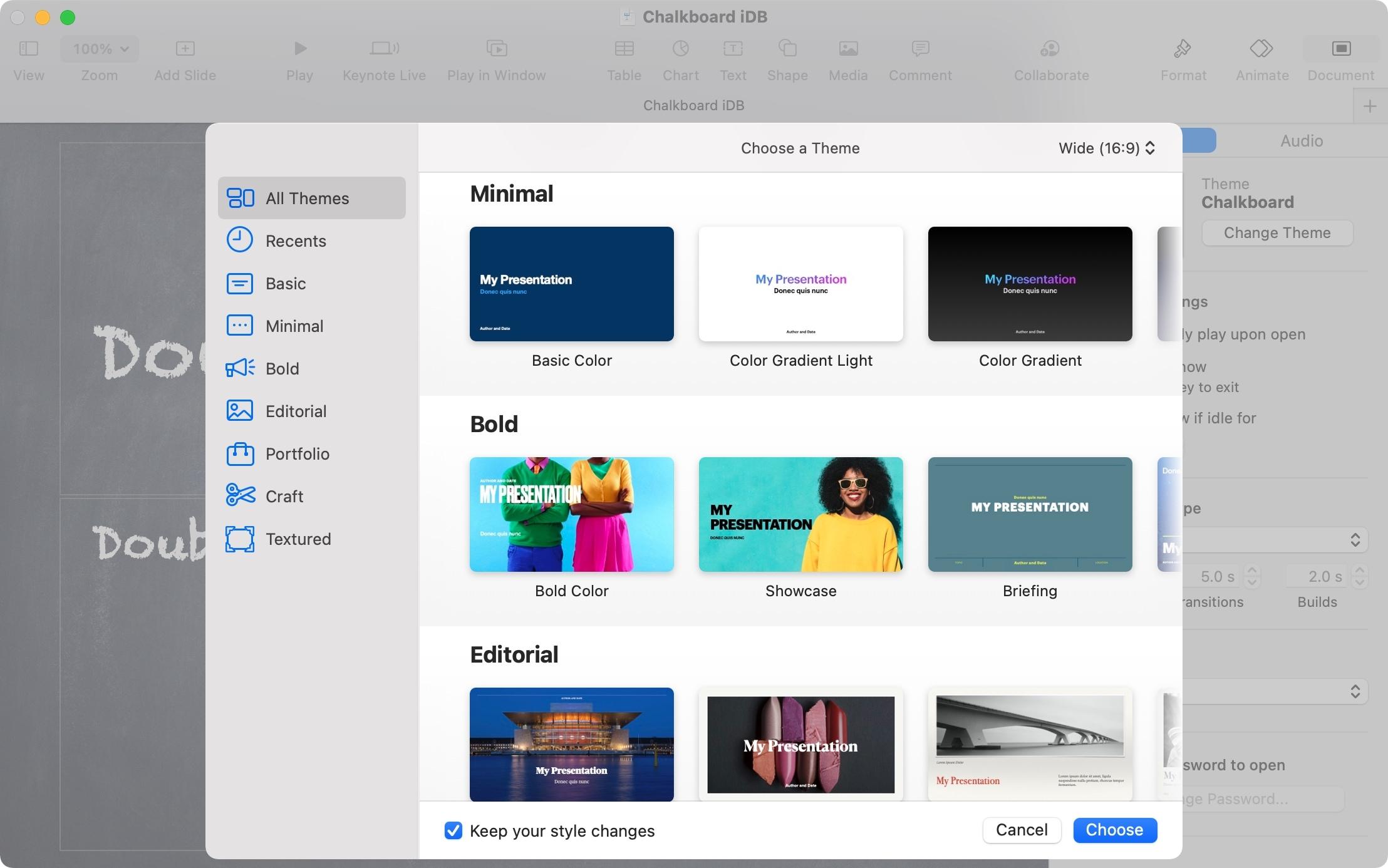Choose a Keynote Theme on Mac