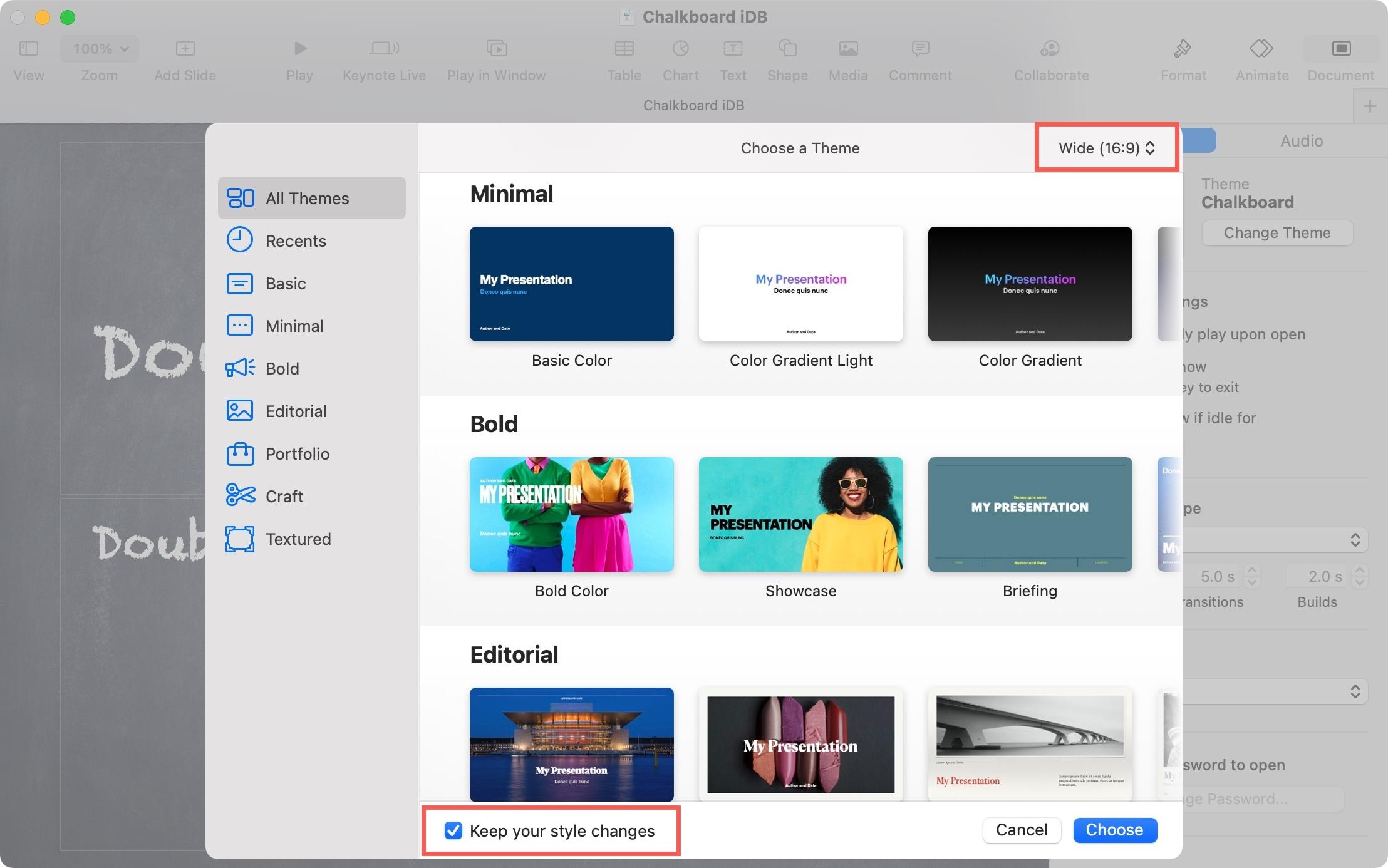Choose a Keynote Theme and Size on Mac