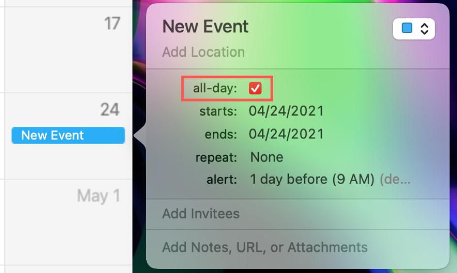 Create All-Day Event in Calendar on Mac