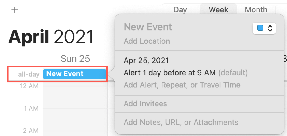 Create All-Day Section Event in Calendar on Mac