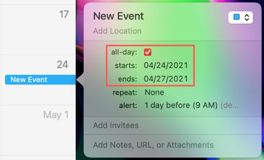 Create a Multi-Day Event in Calendar on Mac