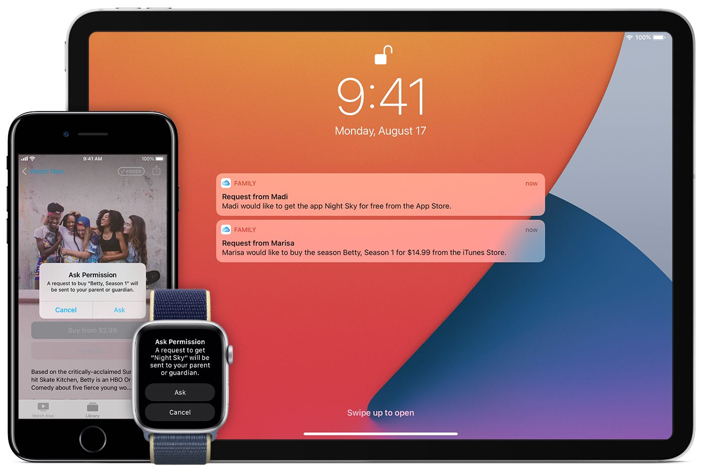 A promotional image showing Family Sharing's Ask to Buy notification on the iPhone, iPad and Apple Watch