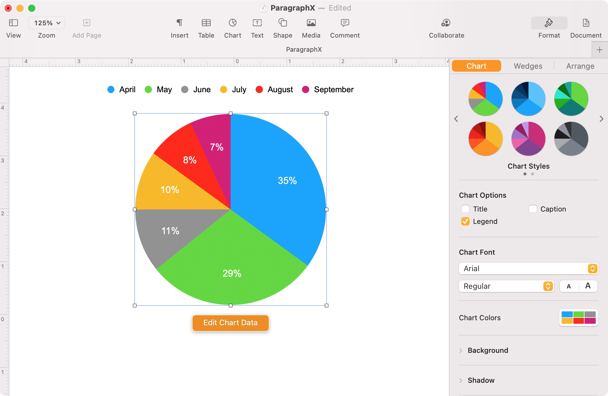 Format a Chart in Pages on Mac
