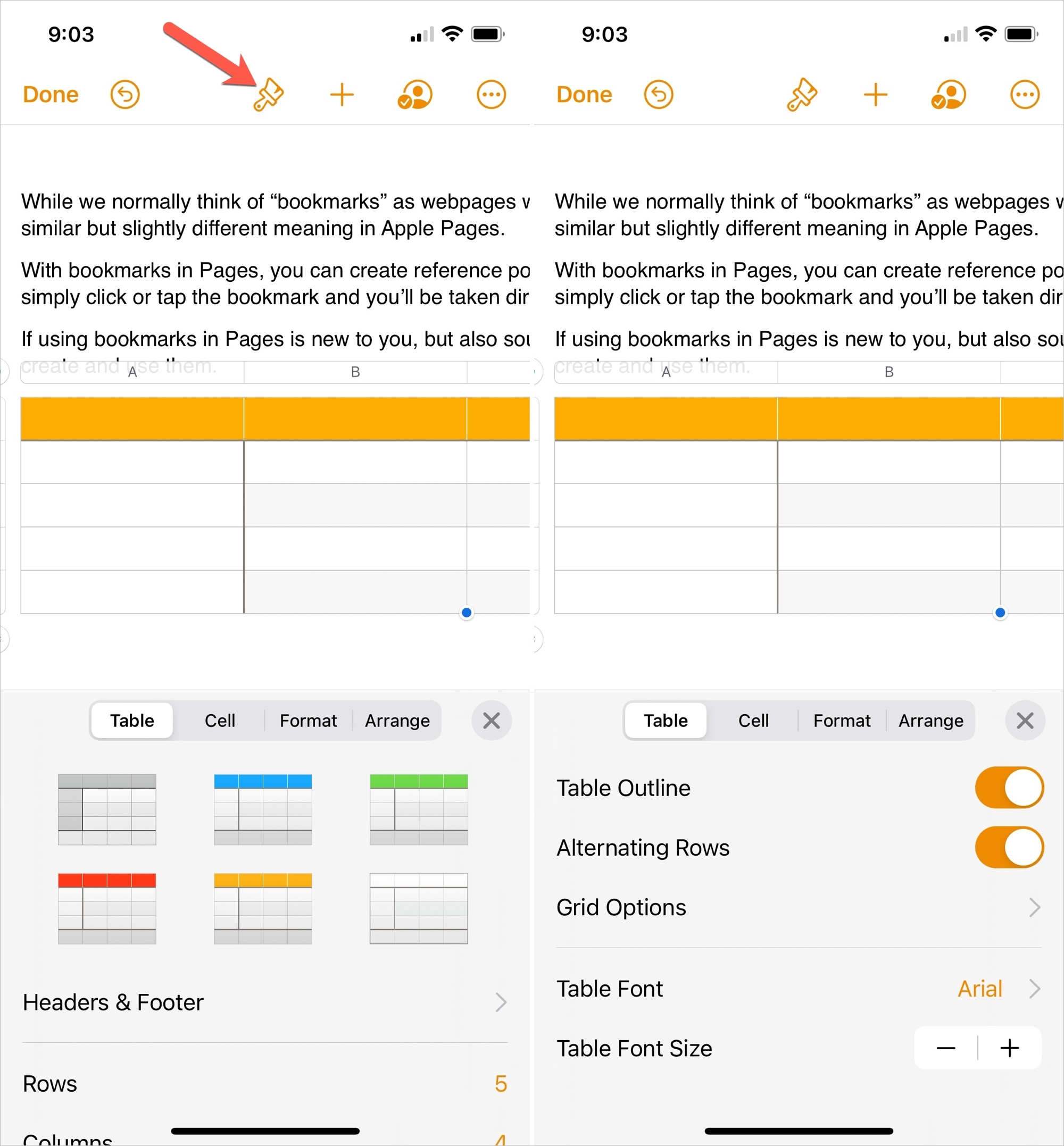 Format a Table in Pages on iPhone