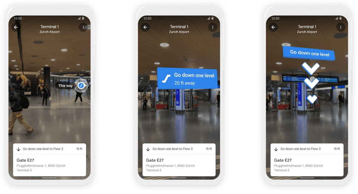 An image showing three generic handsets running Google Maps with Live View augmented reality mode for AR navigation inside malls and airports