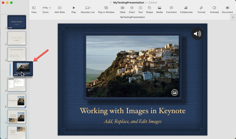 Group Slides in Keynote on Mac