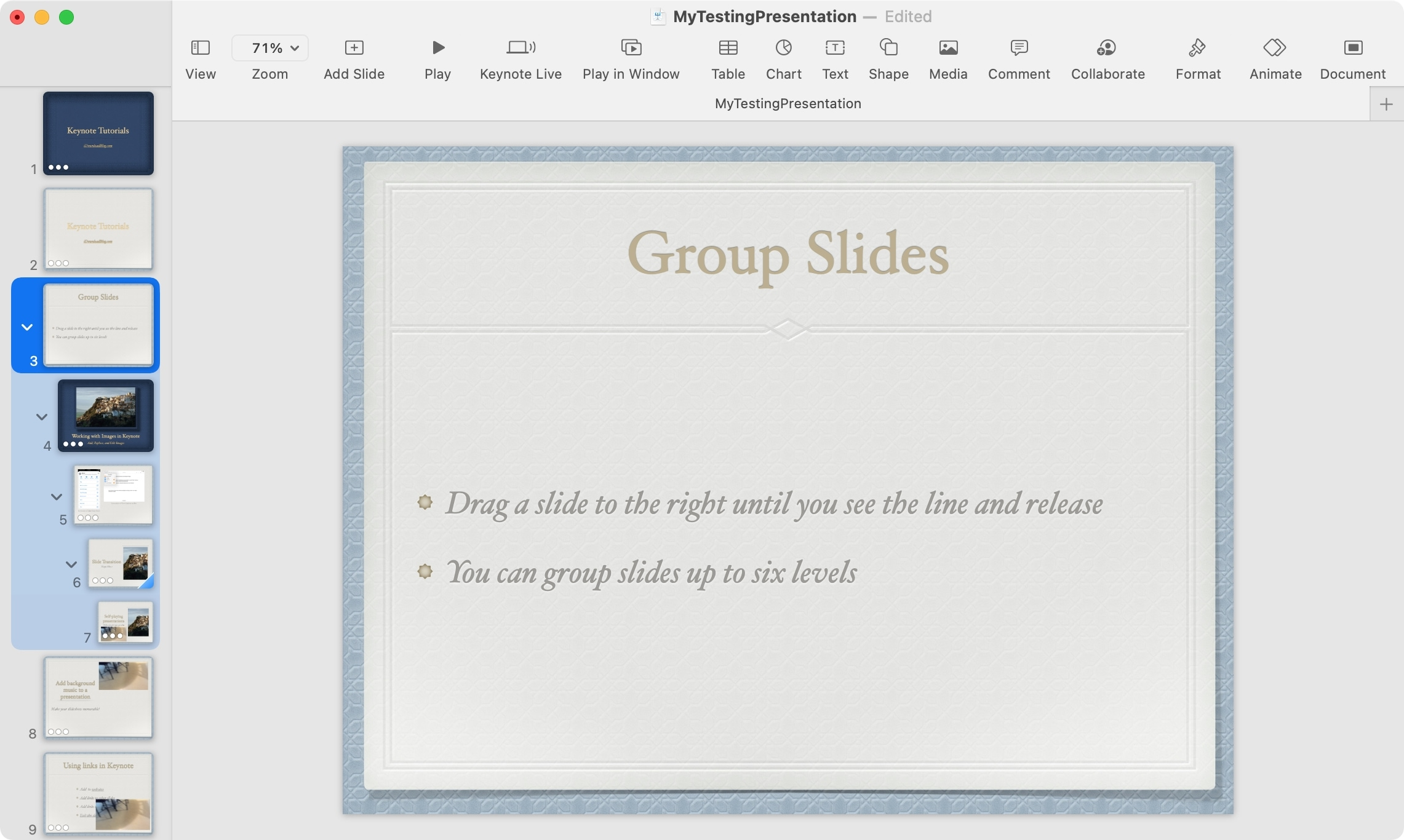 Grouped Slides in Keynote on Mac