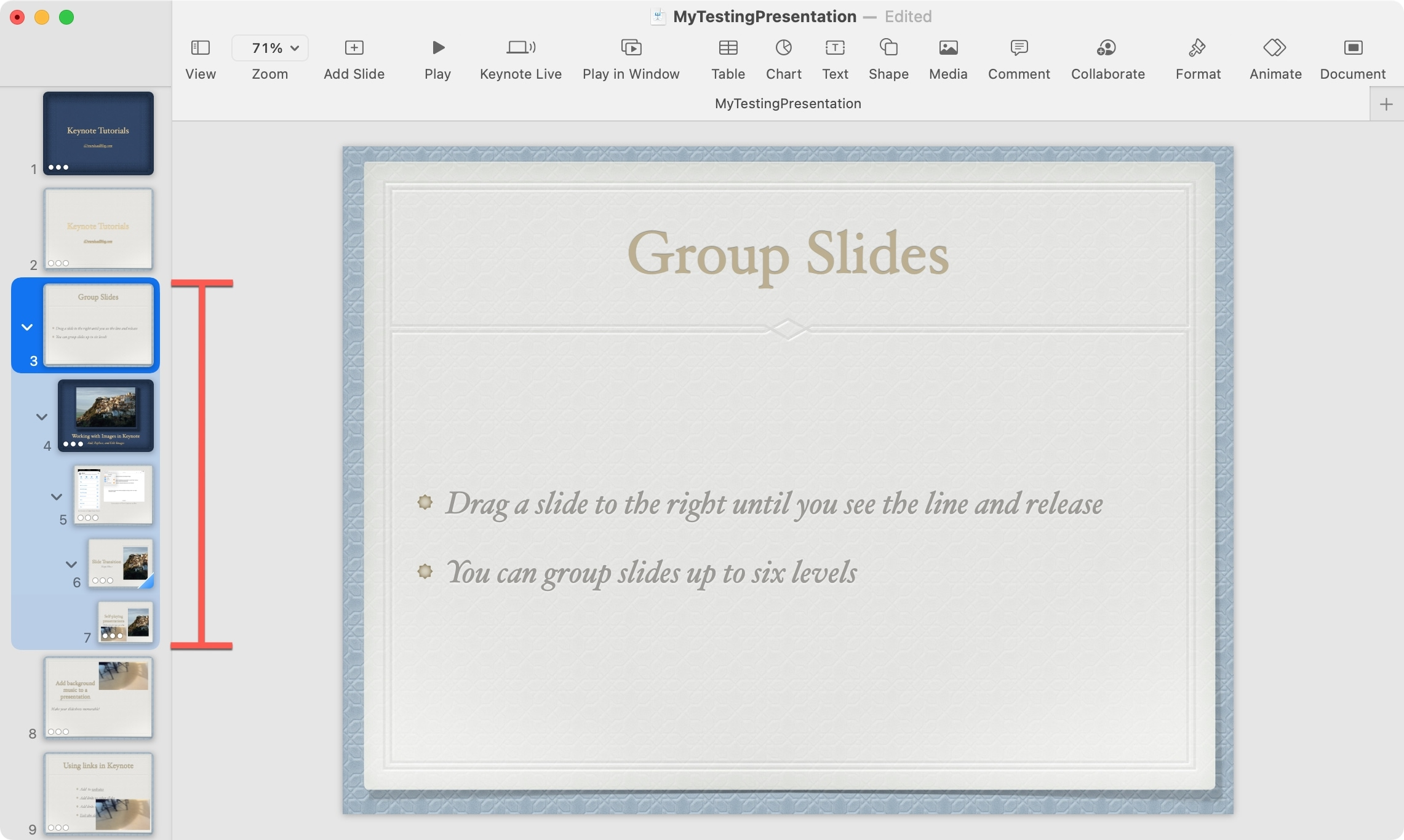 Grouped Slides Levels in Keynote on Mac