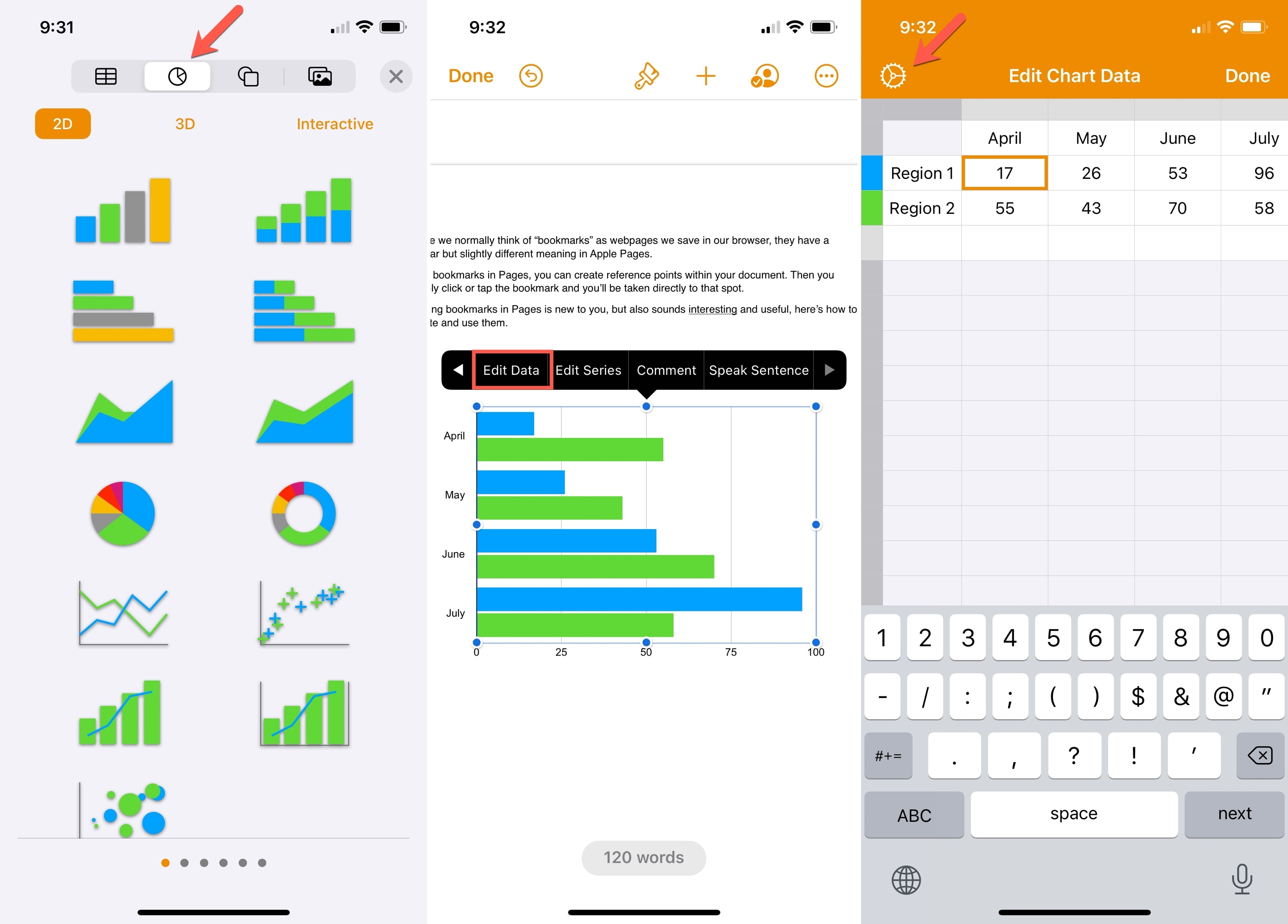 Insert a Chart in Pages on iPhone