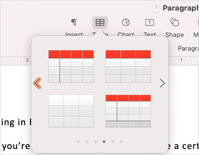 Insert a Table from the Toolbar in Pages on Mac