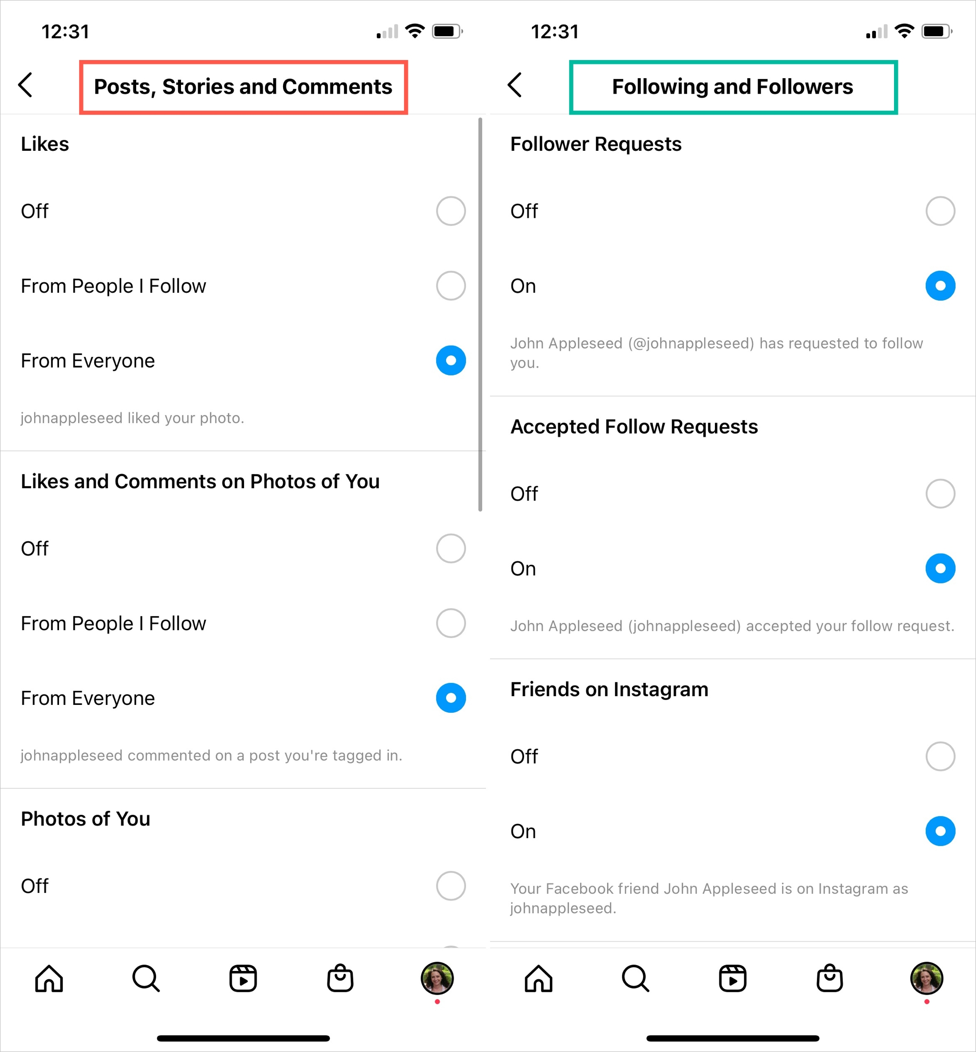 Instagram Notifications for Posts and Following
