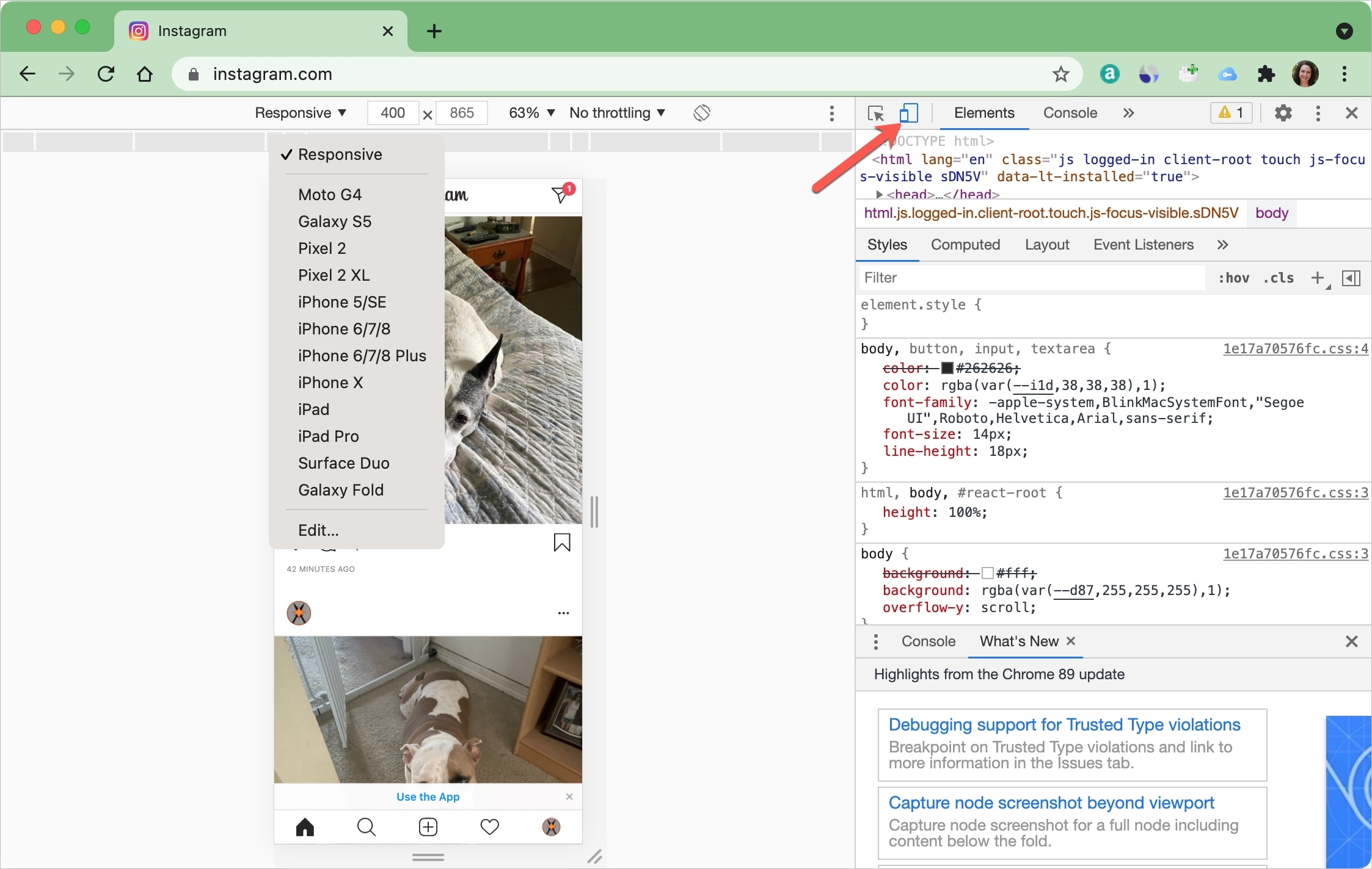 Instagram Post from Chrome on Mac