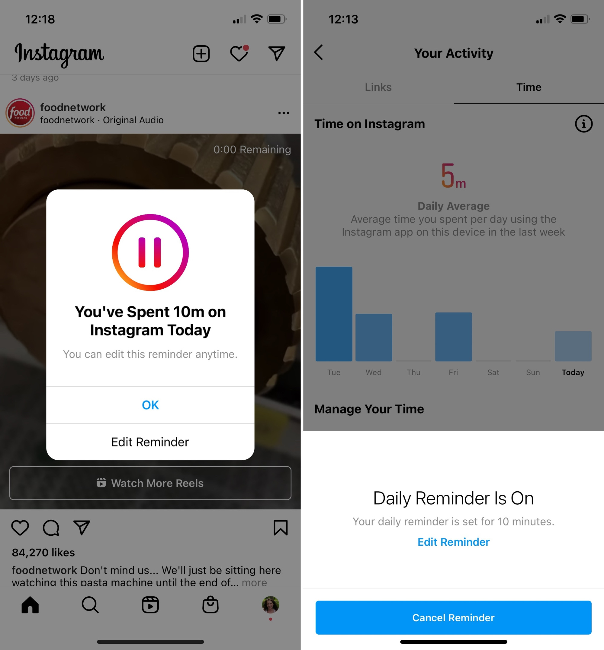 Instagram View Daily Reminder