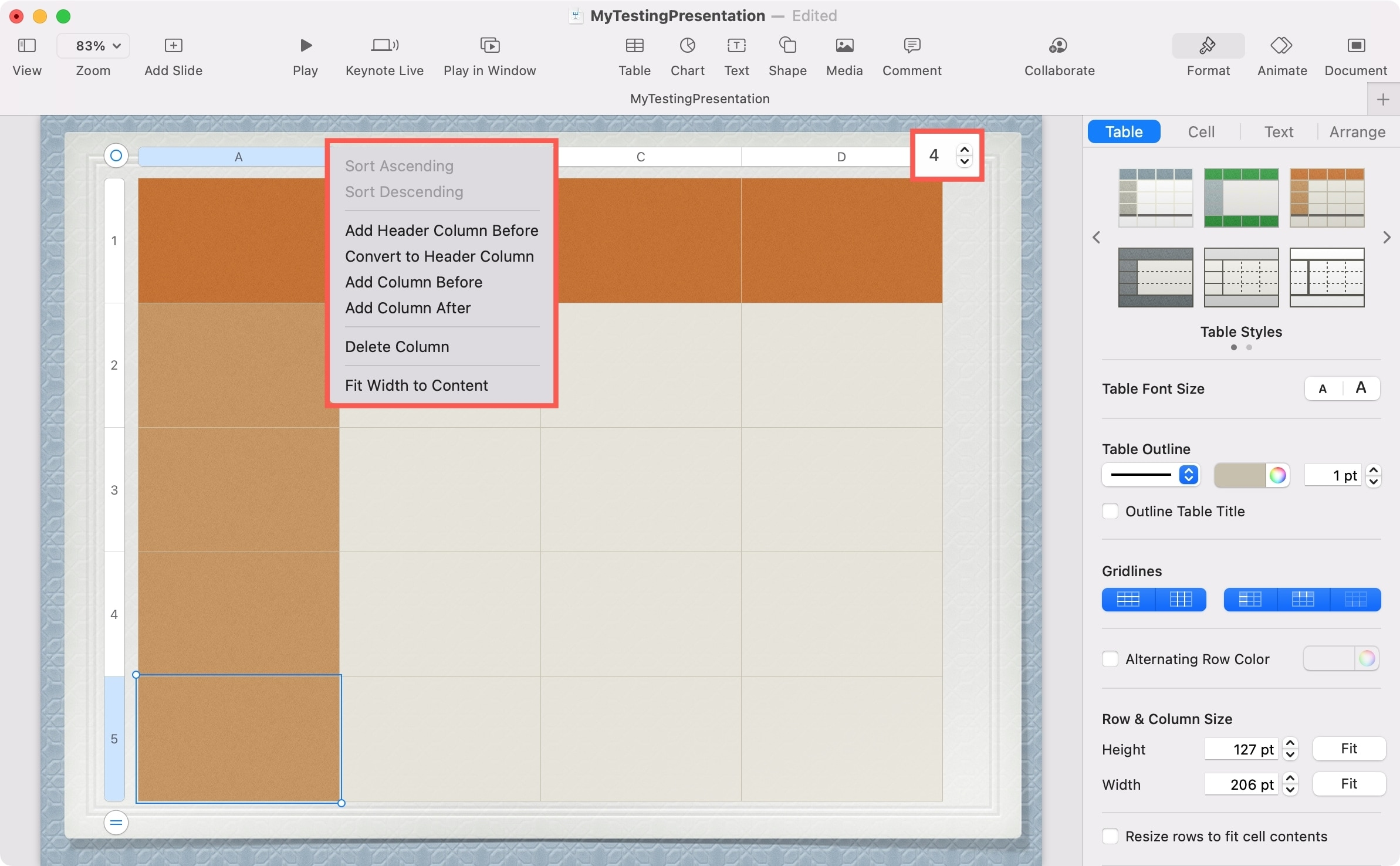 Keynote Add or Remove Columns and Rows in a Table on Mac
