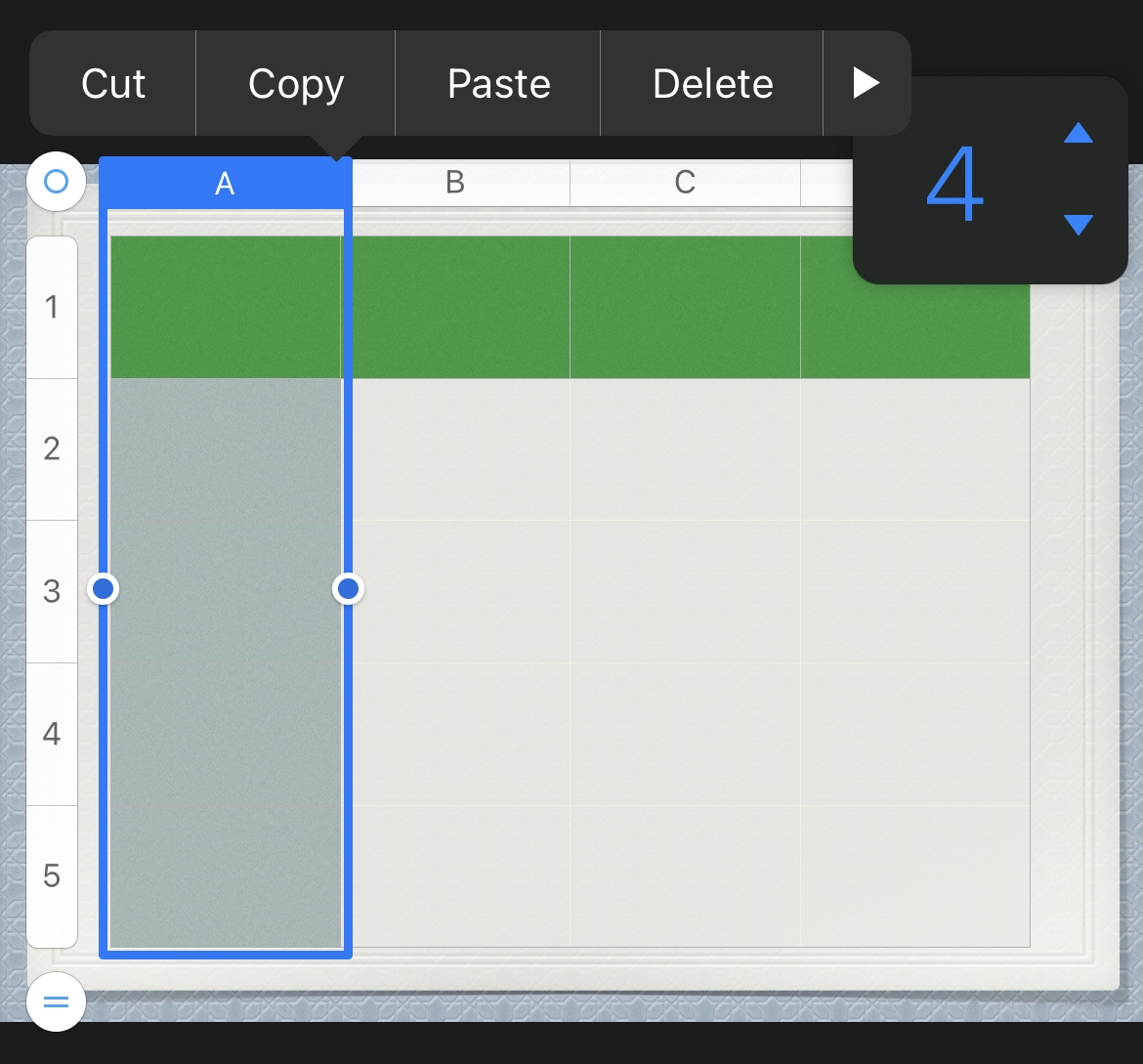 Keynote Add or Remove Columns and Rows in a Table on iPhone