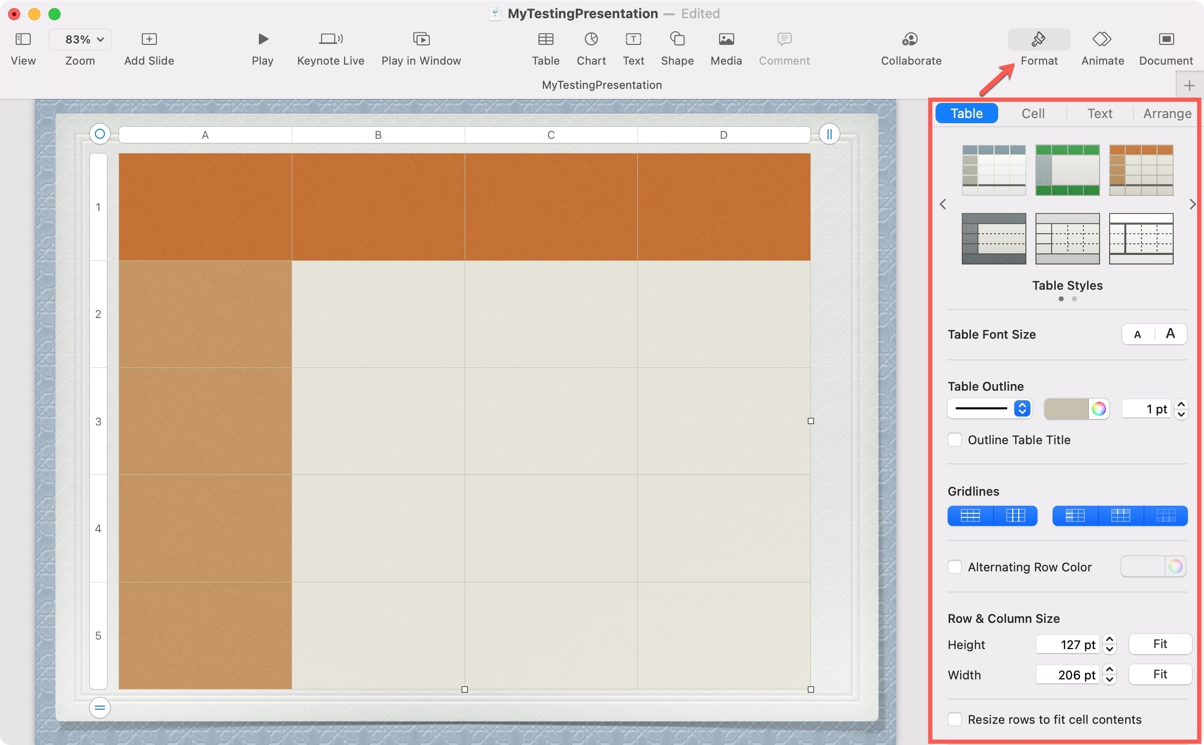 Keynote Format a Table on Mac