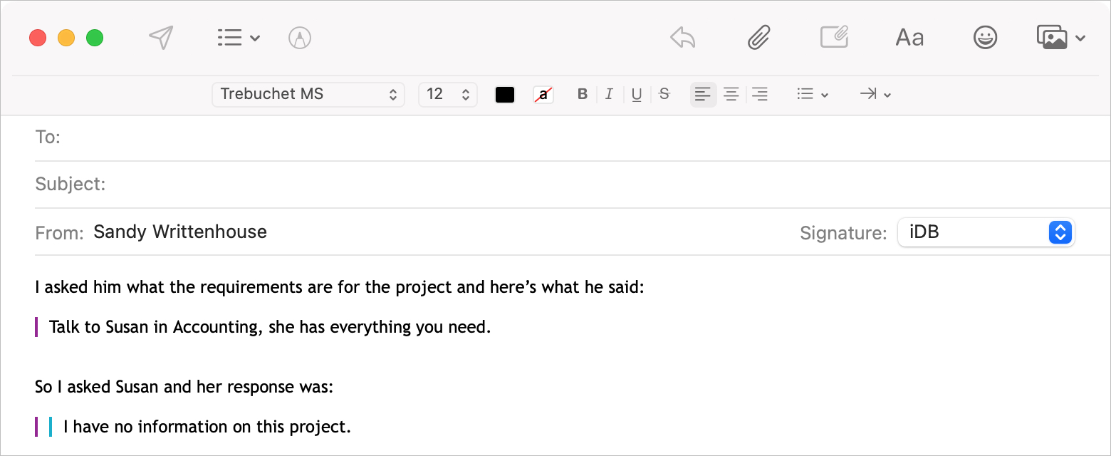 Mail Uncolored Quote Level on Mac