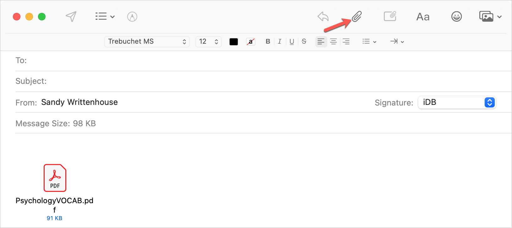 Mail Window on Mac to Share Files