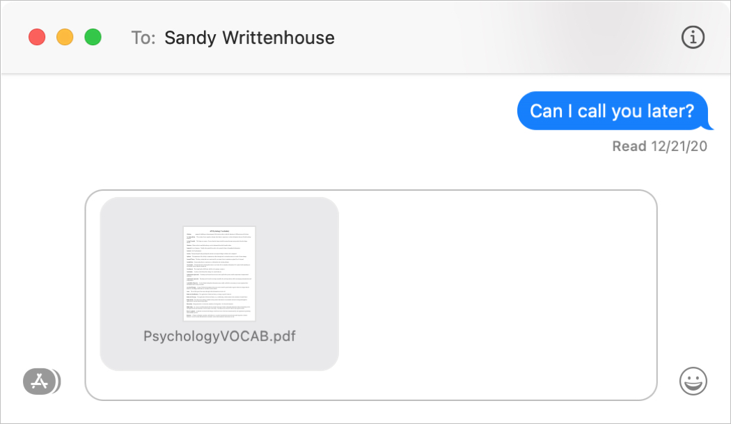 Messages Window on Mac to Share Files