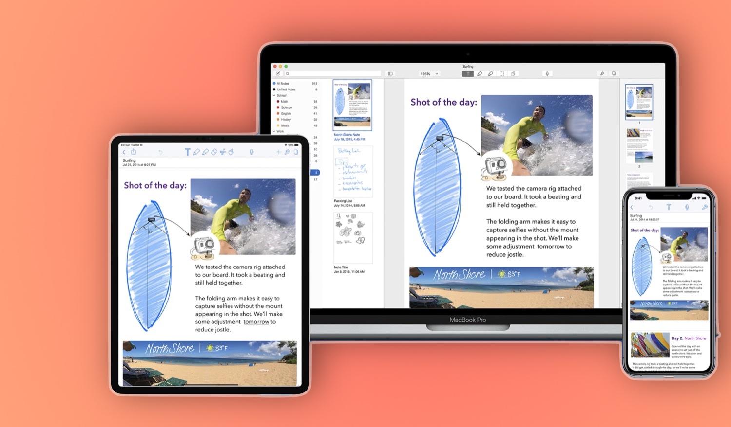 A promotional image showing the note-taking app Notability on the iPhone, iPad and Mac