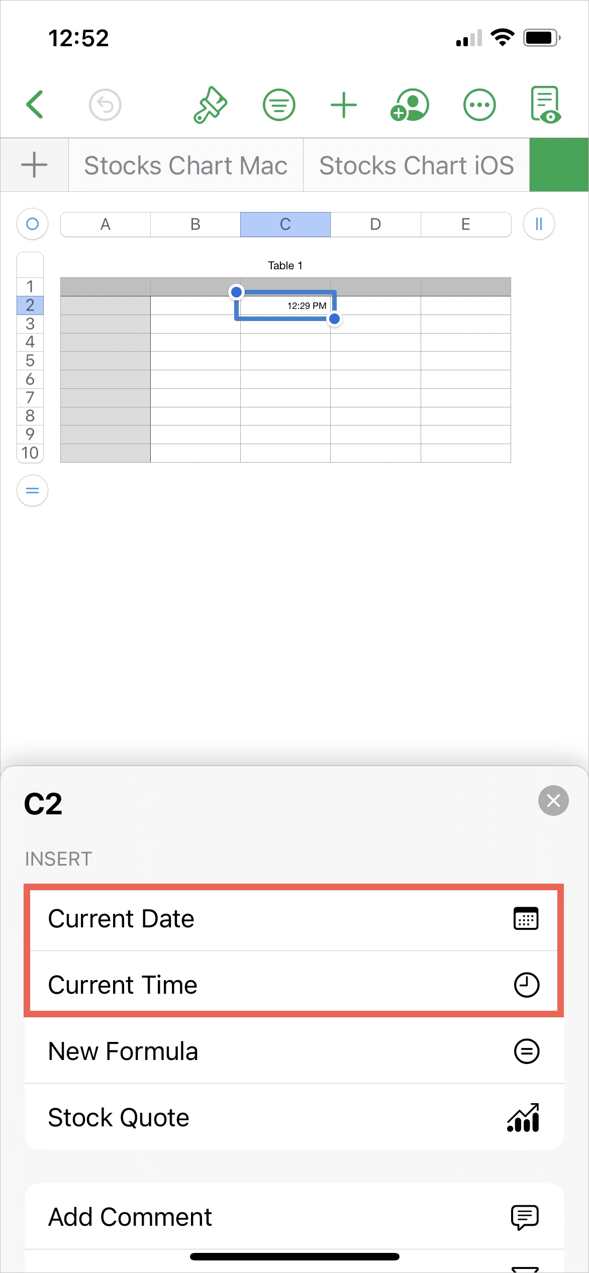 Numbers, Insert Current Date or Time on iPhone