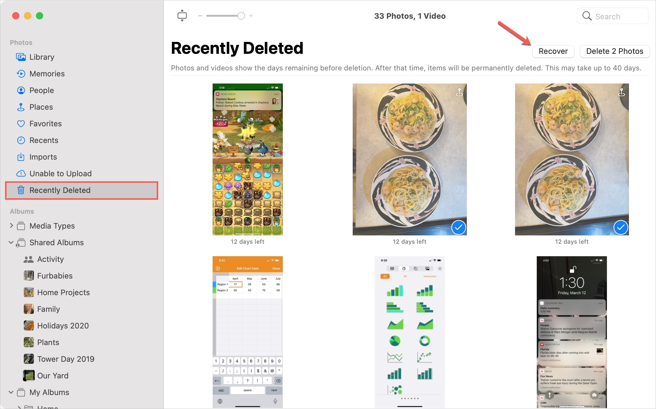 Photos Recently Deleted to Recover on Mac