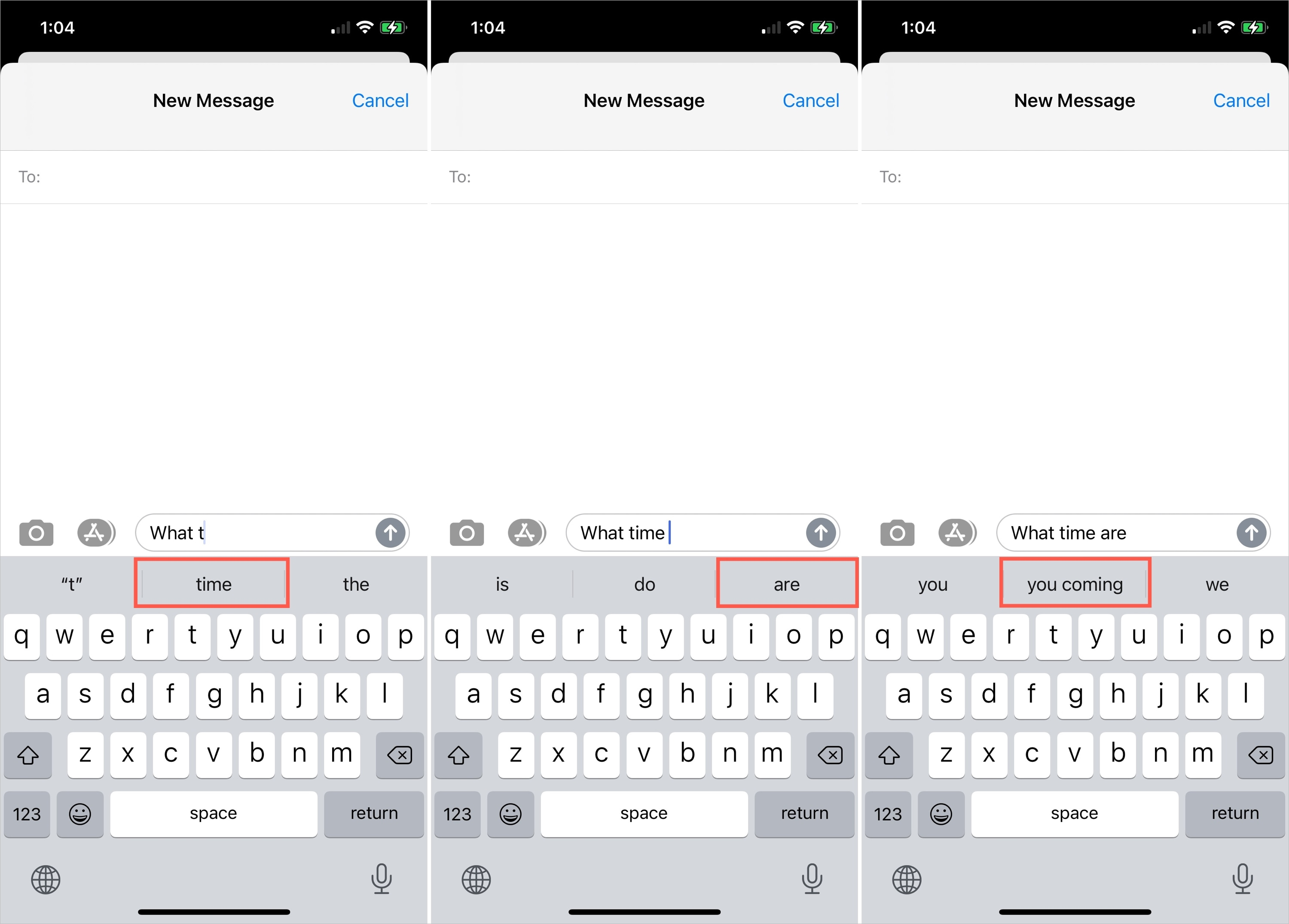 QuickType in Messages on iPhone