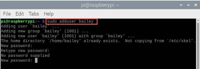 Raspberry Pi Add User