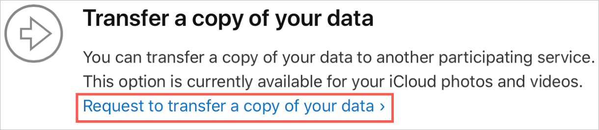 Request a Transfer to Copy Data