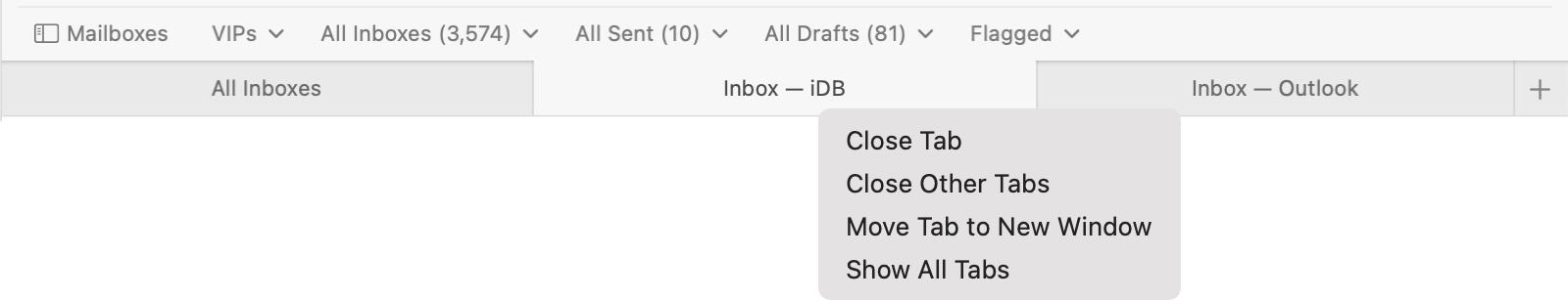 Right Click Tab Menu in Mail on Mac