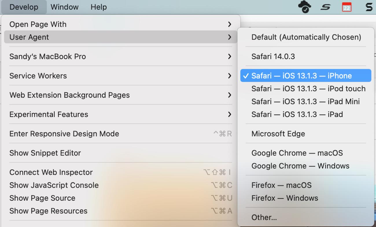 Safari Develop User Agent iPhone
