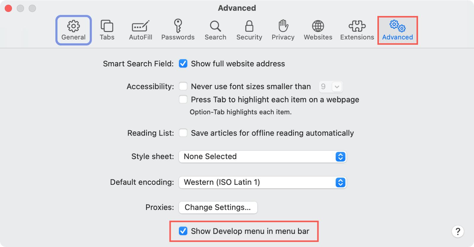 Safari Preferences Advanced Develop Menu