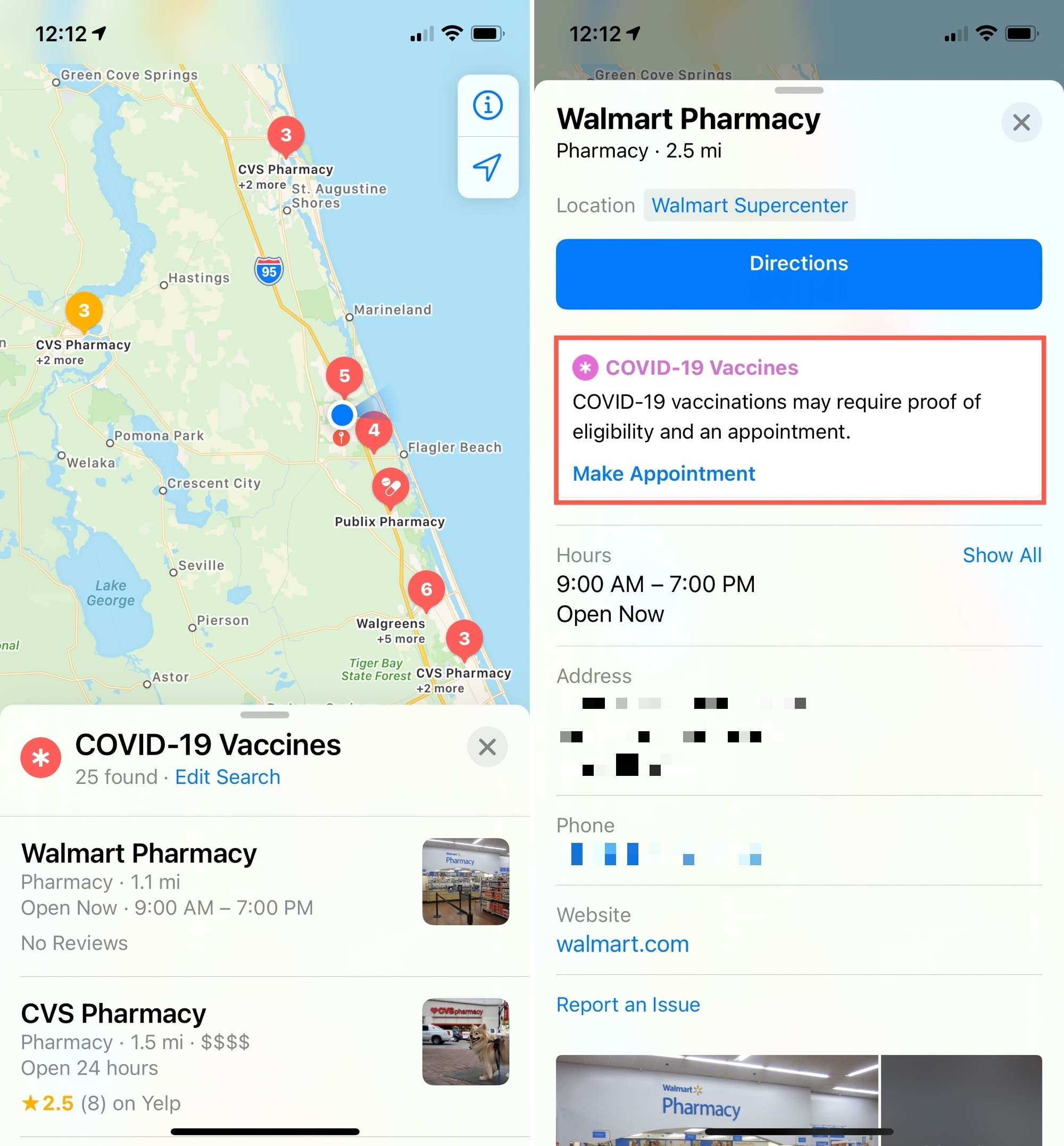 Select COVID Vaccine Location in Maps on iPhone
