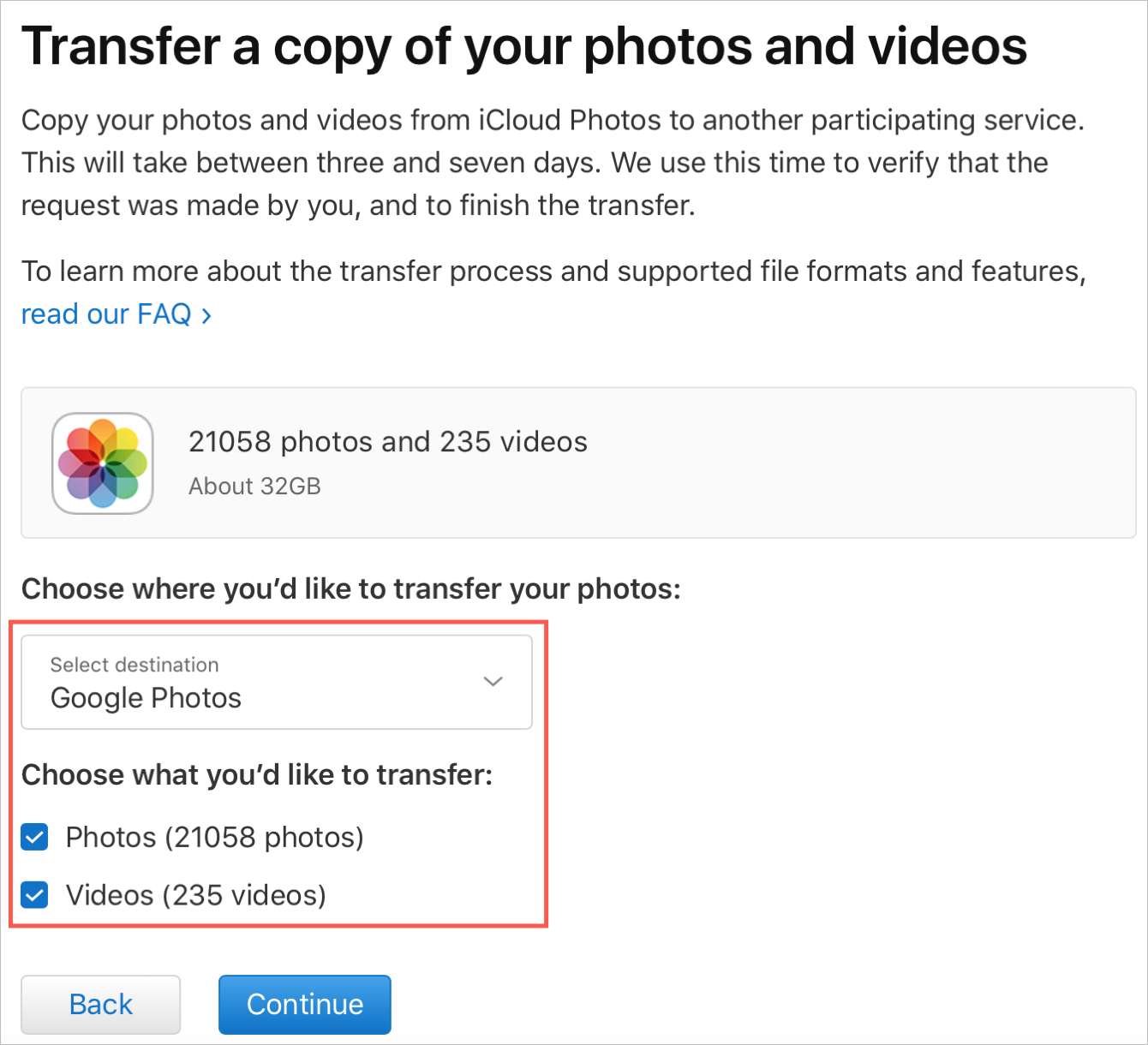 Select Items for the Transfer to Copy Data