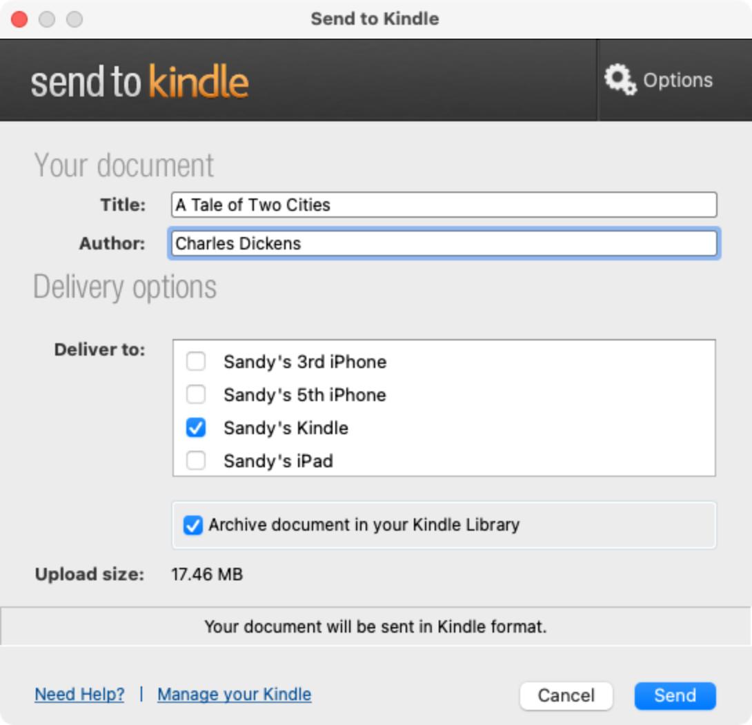 Send to Kindle App on Mac