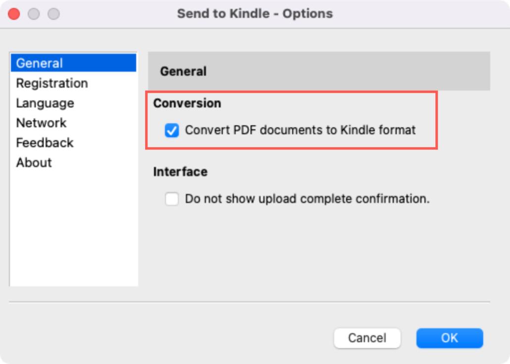 Send to Kindle Convert PDF Option