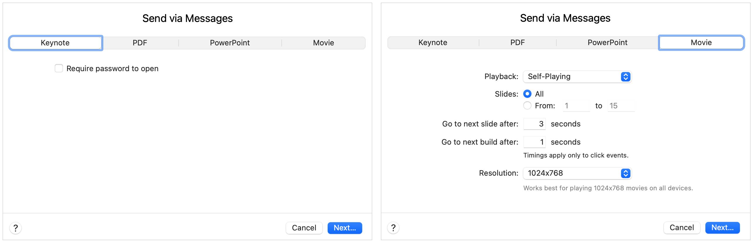 Share Keynote or Movie on Mac