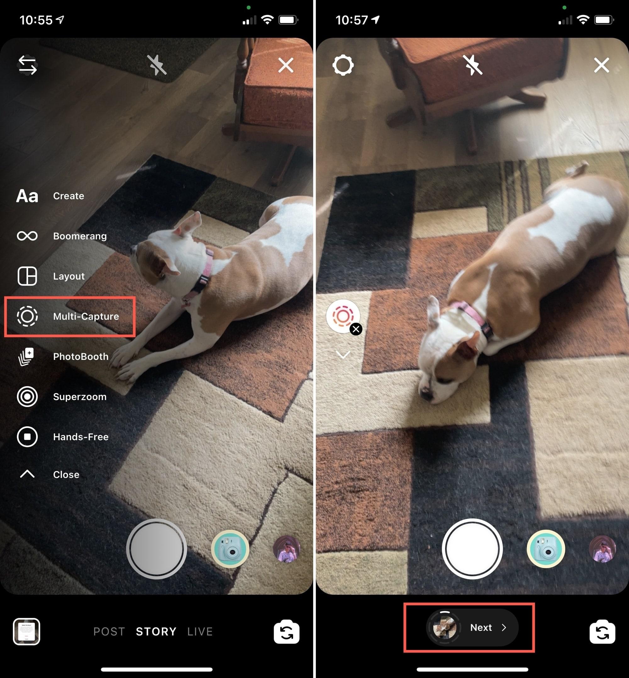 Start Multi-Capture on Instagram