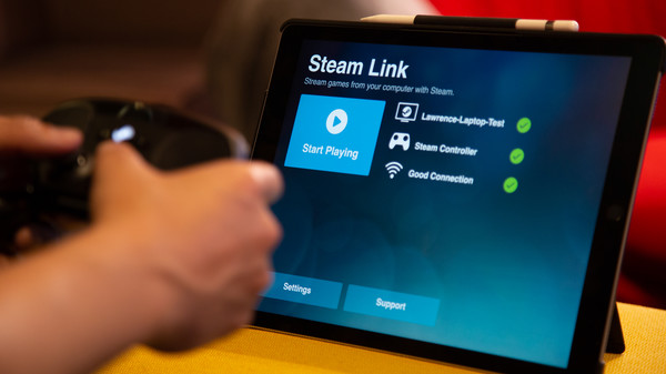 Valve's promotional image showcasing the Steam Link app running on an iPad